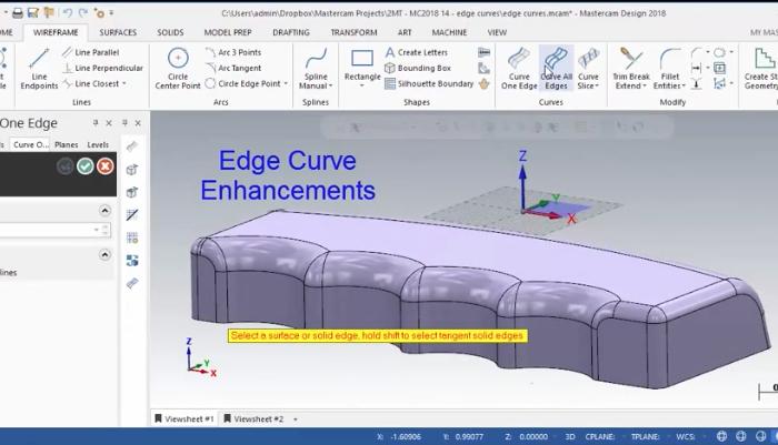 Mastercam 2018 Edge Curve Enhancements