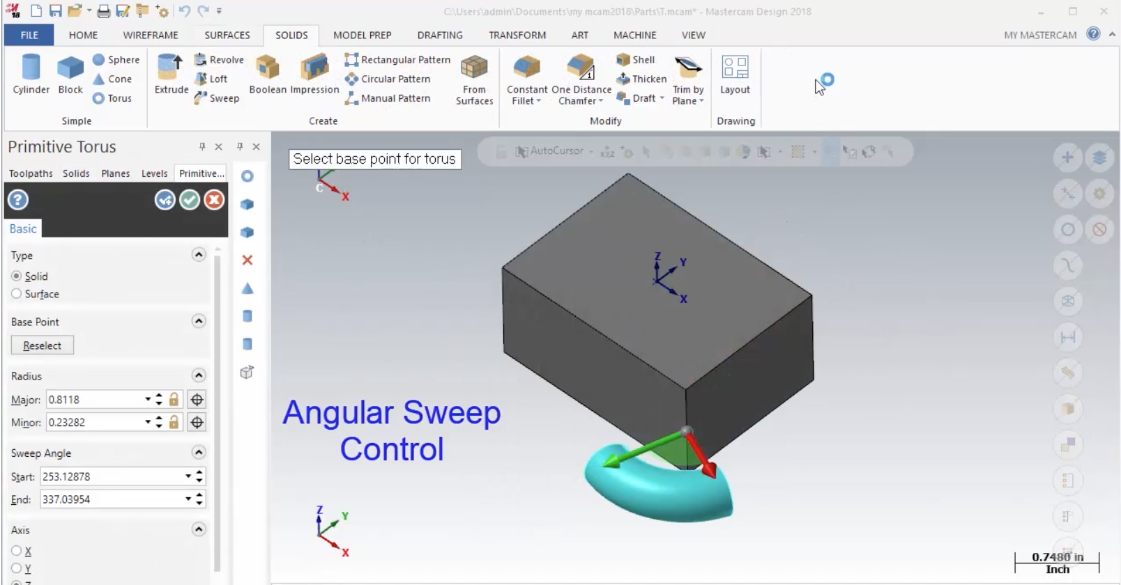 Mastercam 2018 Angle Sweep Commands – Cimquest Inc