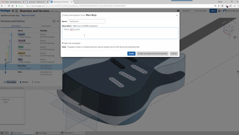 Onshape Branching and Versioning