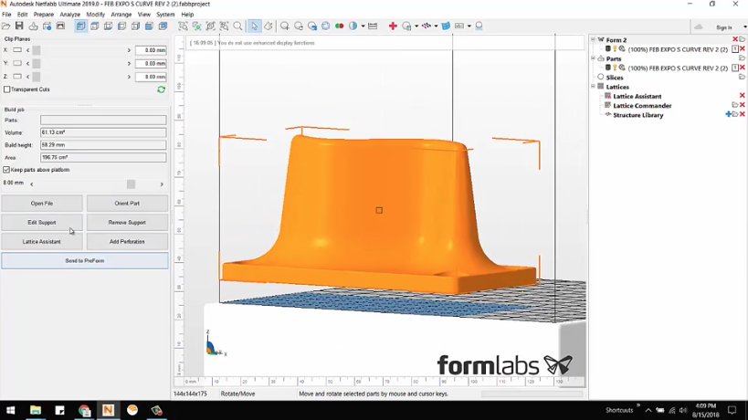 Autodesk Netfabb – Sending a Part to the Form 2 Printer