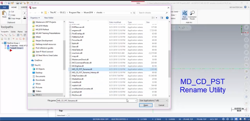 Rename Linked Machine Files in Mastercam