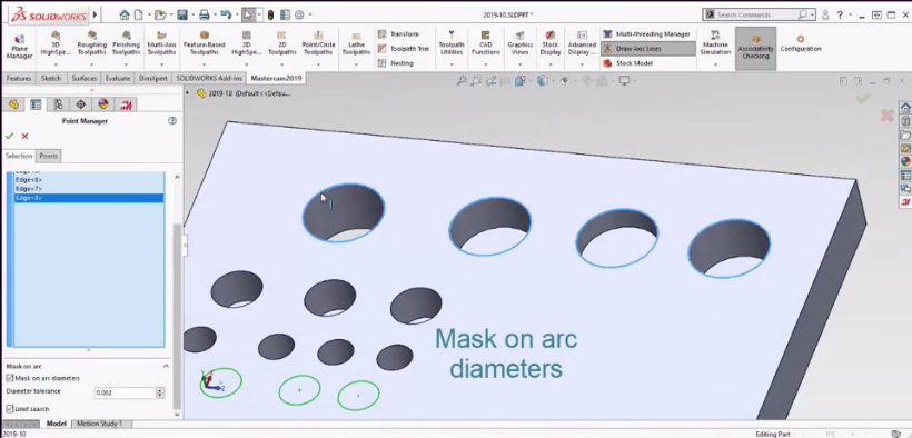 Mastercam for Solidworks Mask on Arc