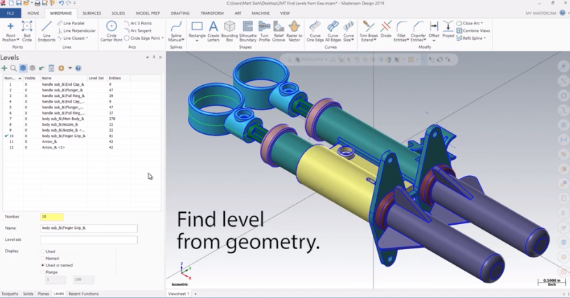 Mastercam 2019 Find Level From Geometry