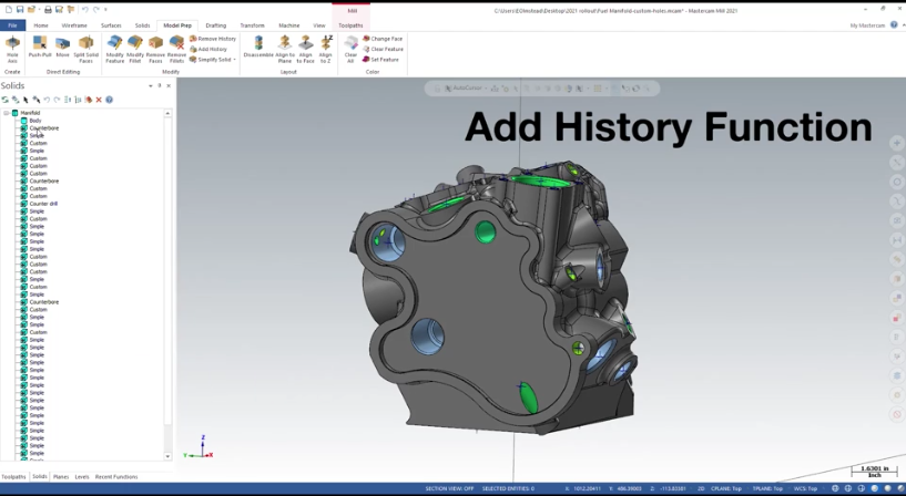 Mastercam Add Solid History Function