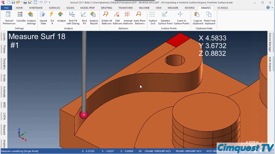 Inspect a Freeform Surface