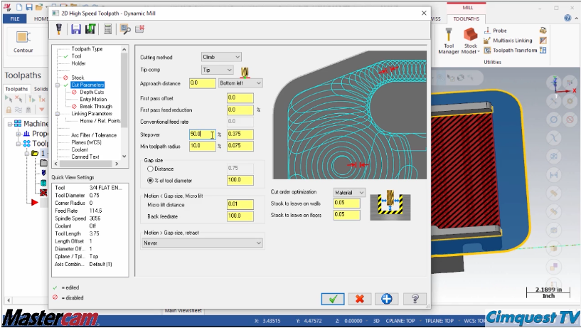 Mastercam 2017 Radial Chip Thinning Factor