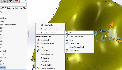 SolidWorks 2017 Wrap onto Freeform Surfaces – Cimquest Inc