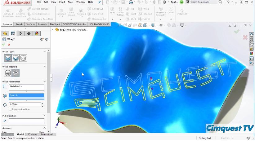 SolidWorks 2017 Wrap onto Freeform Surfaces – Cimquest Inc