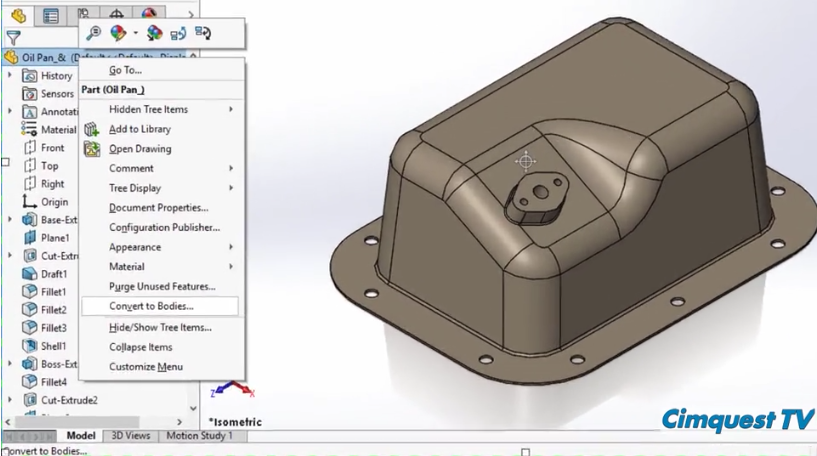 SOLIDWORKS 2017 Convert Features