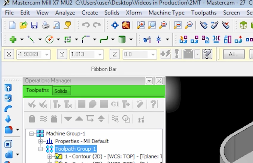Mastercam 2017 Function Manager Tabs